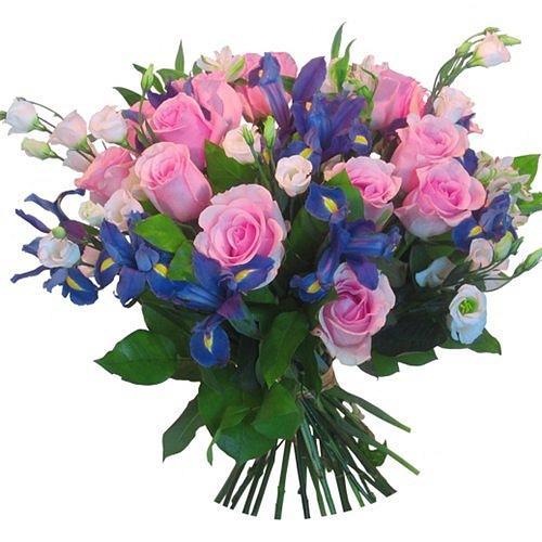 Букет роз ирисов и лизиантусов